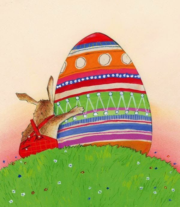 illustration by dutch illustrator Robert Wagt of an easter bunny with a giant egg