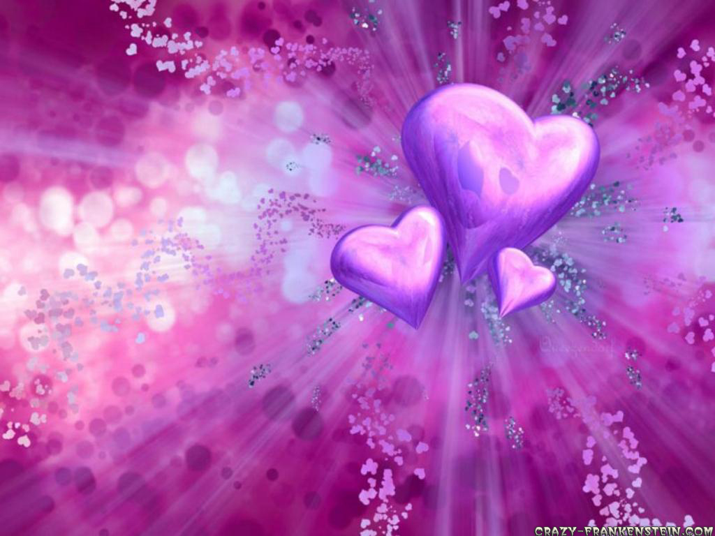 wallpapers purple hearts pink - photo #1