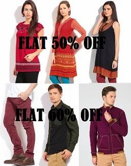 Flat 60% Off on Breakbounce Men's Clothing | Flat 50% Off on GlobalDesi Women's Clothing