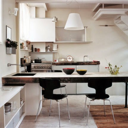 small kitchen with stylish model