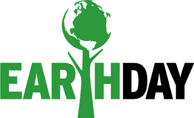 Earth Day graphic featuring earth/globe