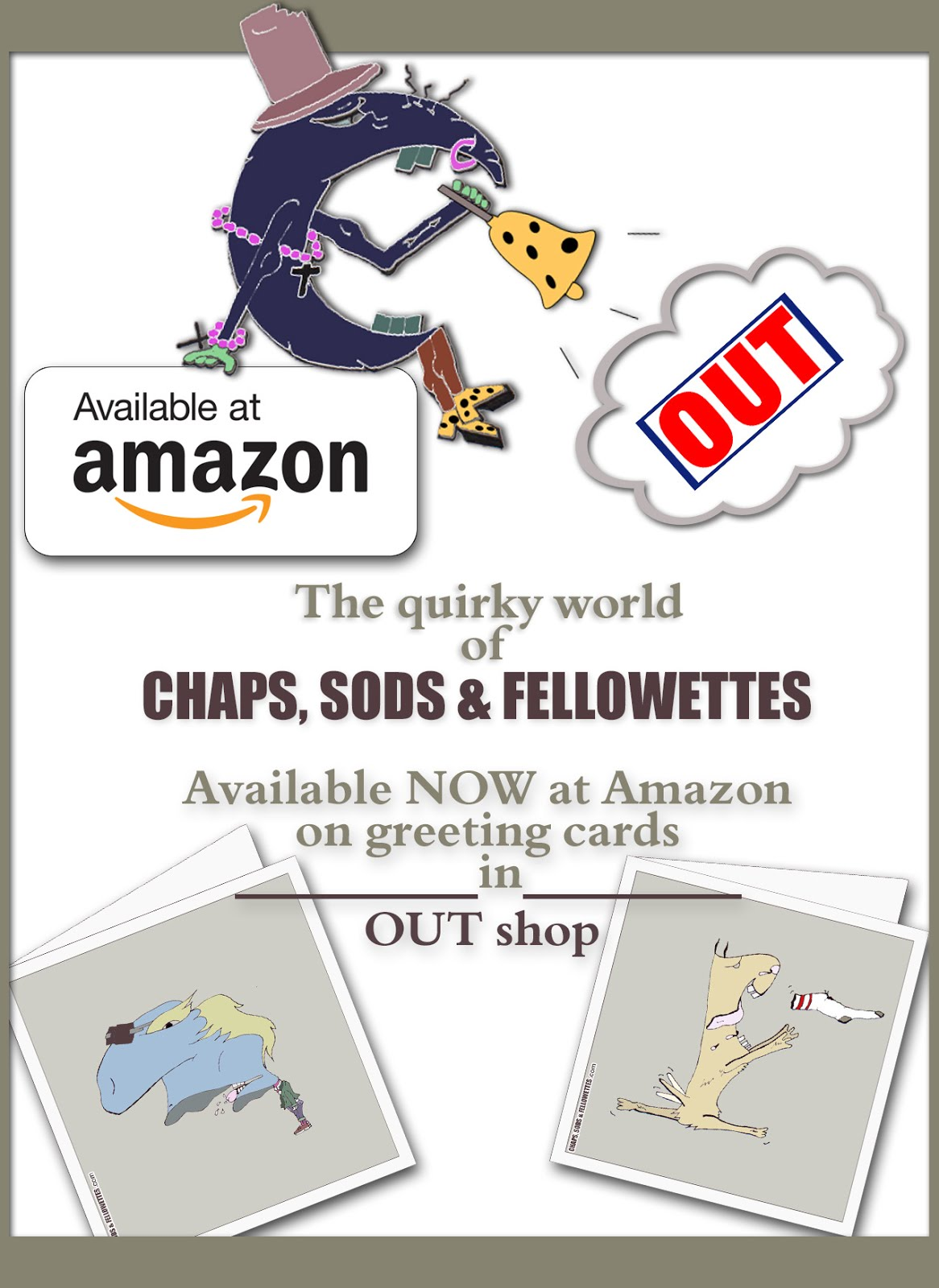 SHOP ONLINE AT AMAZON. Chaps, Sods and Fellowettes greeting cards.