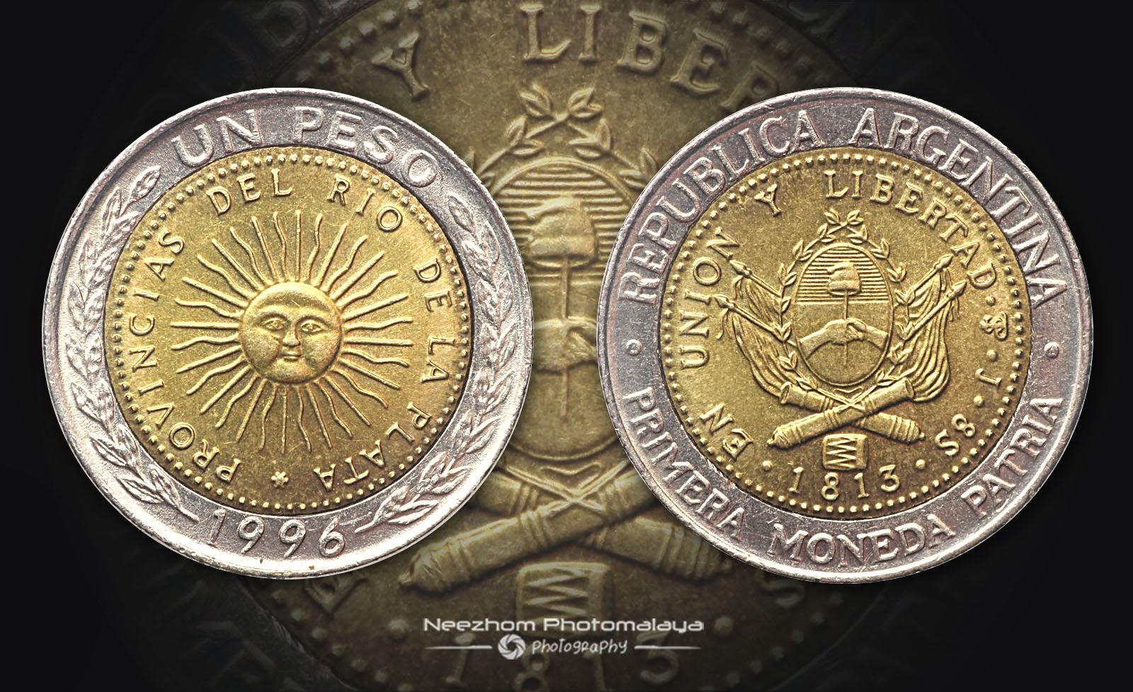Argentina bi metal coin 1 Peso 1996