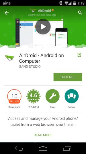 WhatsApp AirDroid 3 di Perangkat Android