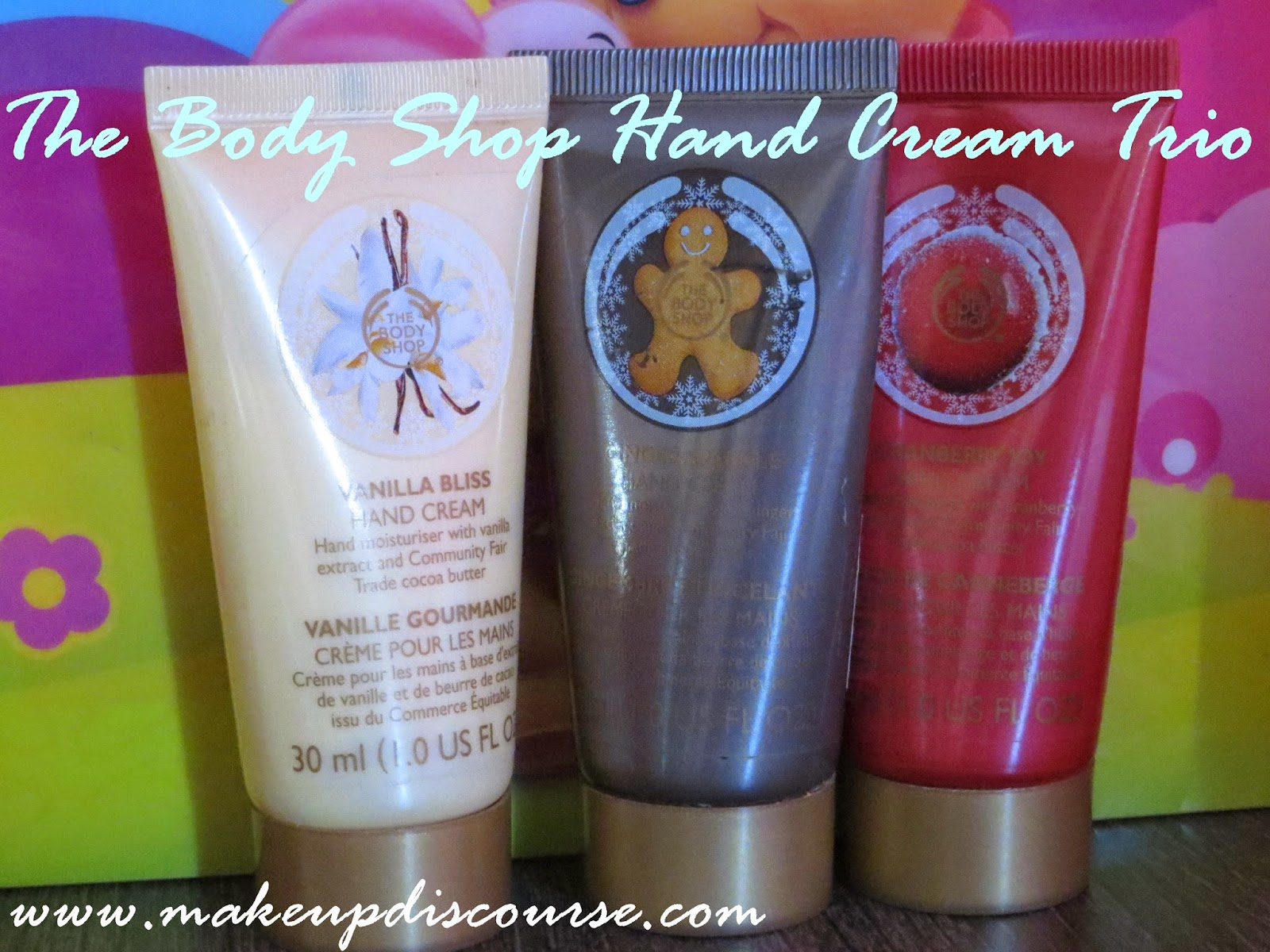 The Body Shop Festive Hand cream Trio, Ginger Sparkle, Cranberry Joy and Vanilla Bliss