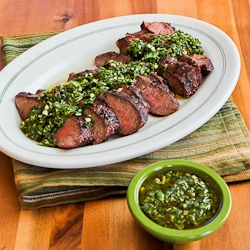 Grilled Flat Iron Steak with Chimichurri Sauce found on KalynsKitchen ...