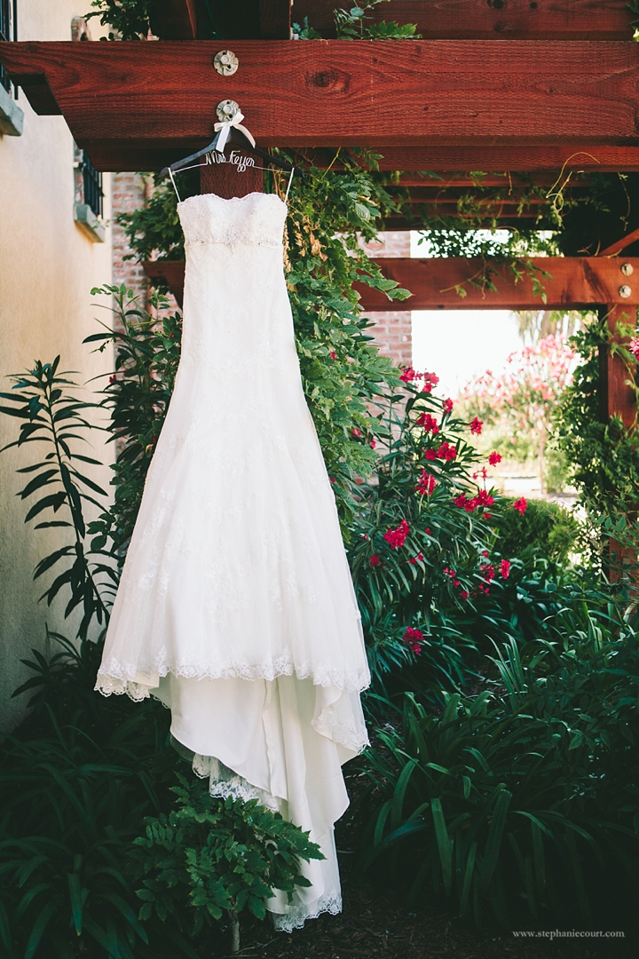 """romantic lace wedding dress in garden"""