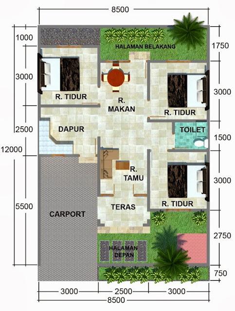Denah Rumah Minimalis 3 Kamar Tidur di Area Tanah 100M Persegi
