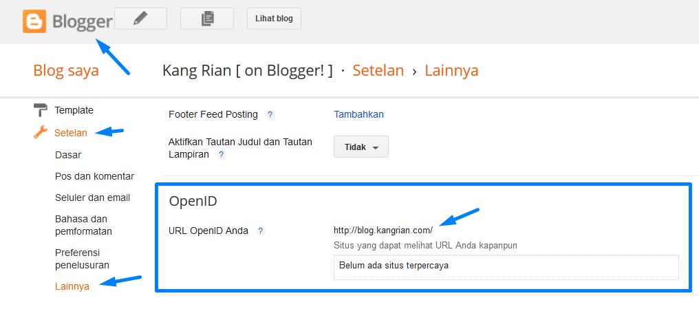 Tutorial Cara Mengaktifkan OpenID di Blogger
