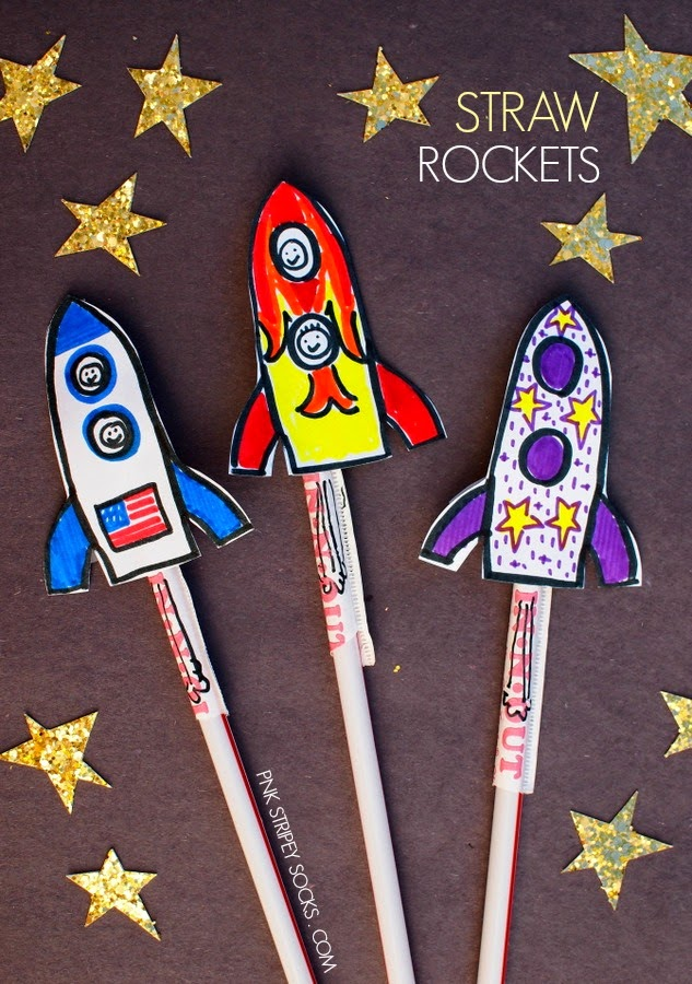 Straw rockets pink stripey socks for Outer space project