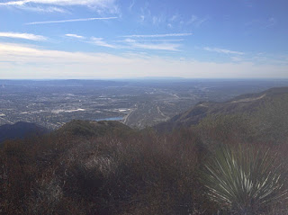 View southwest toward Azusa and beyond from Summit 2843 on New Year's Day 2016, Angeles National Forest