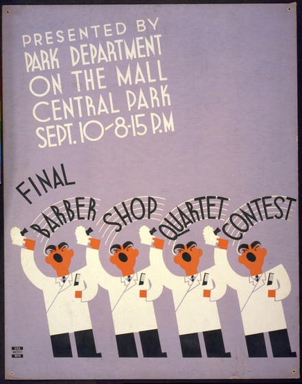 music, advertising, concert, new york, vintage, vintage posters, free download, graphic design, retro prints, classic posters, federal art project, Final Barber Shop Quartet Contest, Park Department - Vintage Concert Music Poster