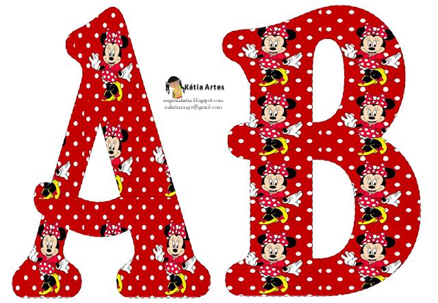 Alfabeto de Minnie Mouse en fondo rojo con lunares blancos. 2 ...