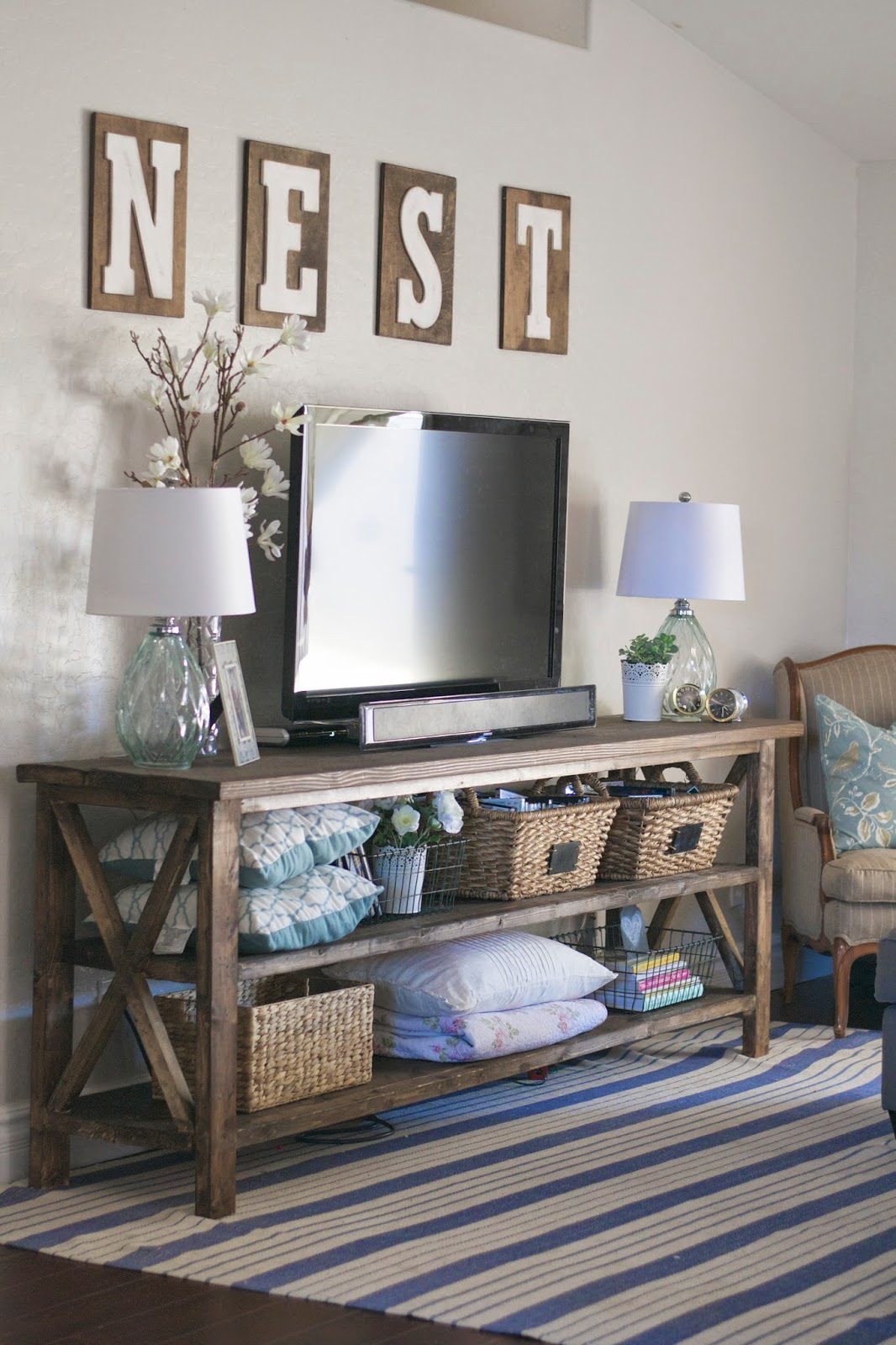 Diy farmhouse console a peek into our family room for Living room 6 letters