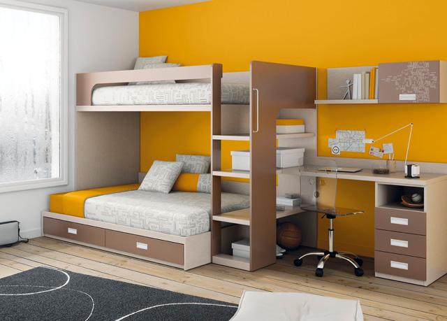 Litera con la cama de arriba de 90x190 y la de abajo de - Dormitorios infantiles literas ...