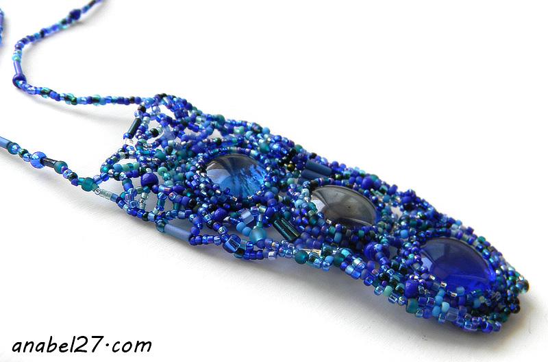 freeform peyote necklace beadwork jewelry beaded pendant