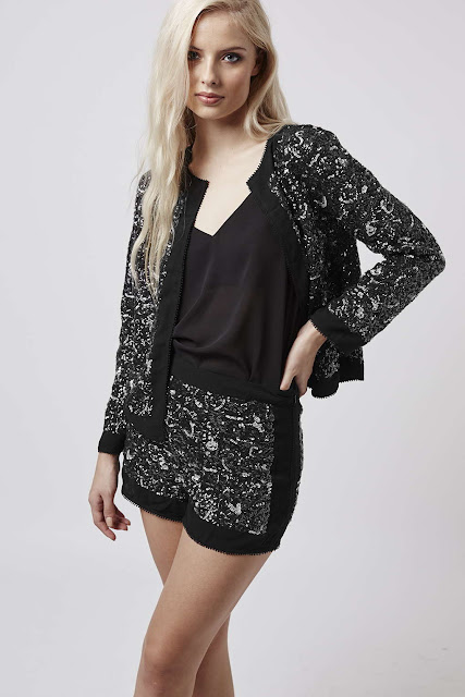 sequin jacket and shorts, sequin black jacket with matching shorts,
