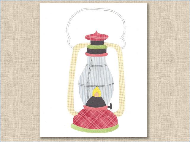 Lantern Collage Art Print -Whitehall Shop