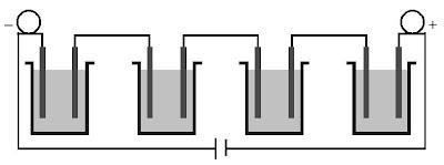 Elektrolisis beberapa larutan yang dirangkaikan secara seri.