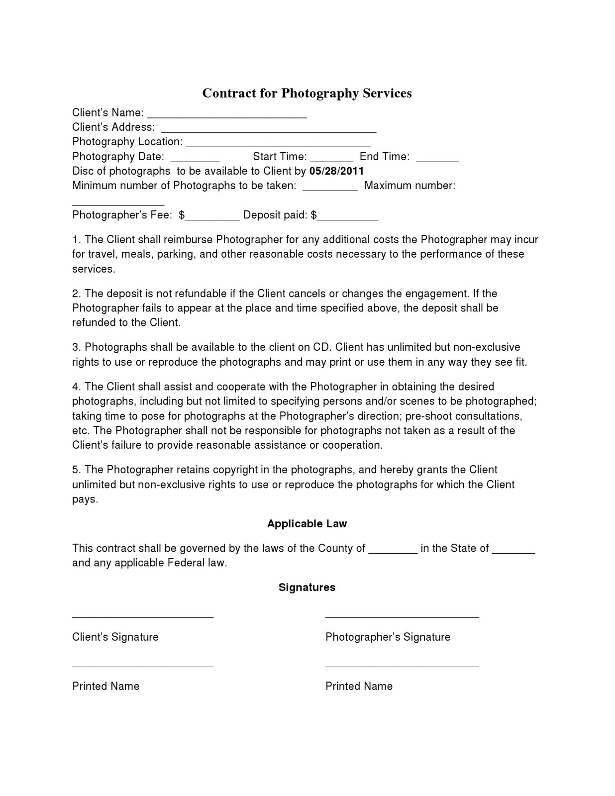 birth photography contract template - photography contract template non compete agreement