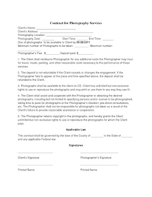 Photography Contract Template  Non Compete Agreement