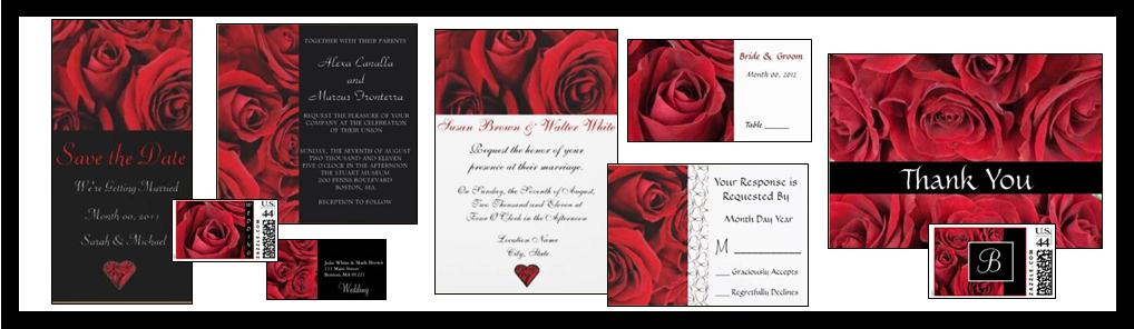 Red Rose Wedding Invitations and Stationary Cards