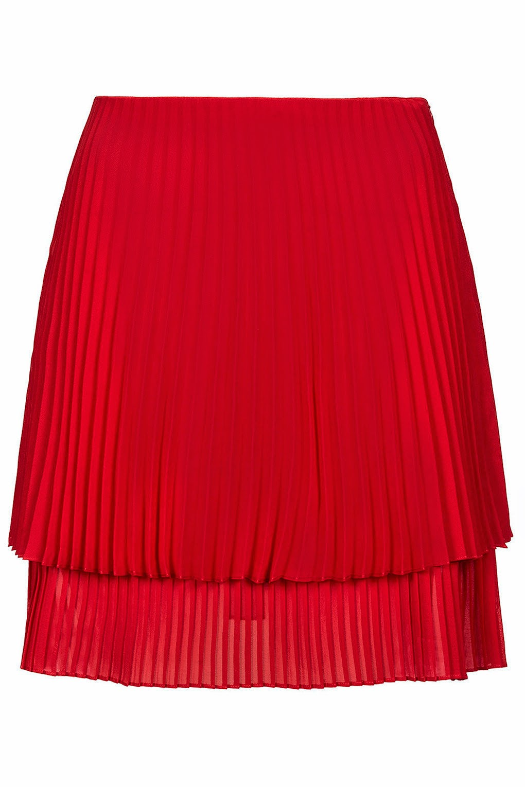 pleated double layer skirt, red pleated skirt, topshop pleated skirt,