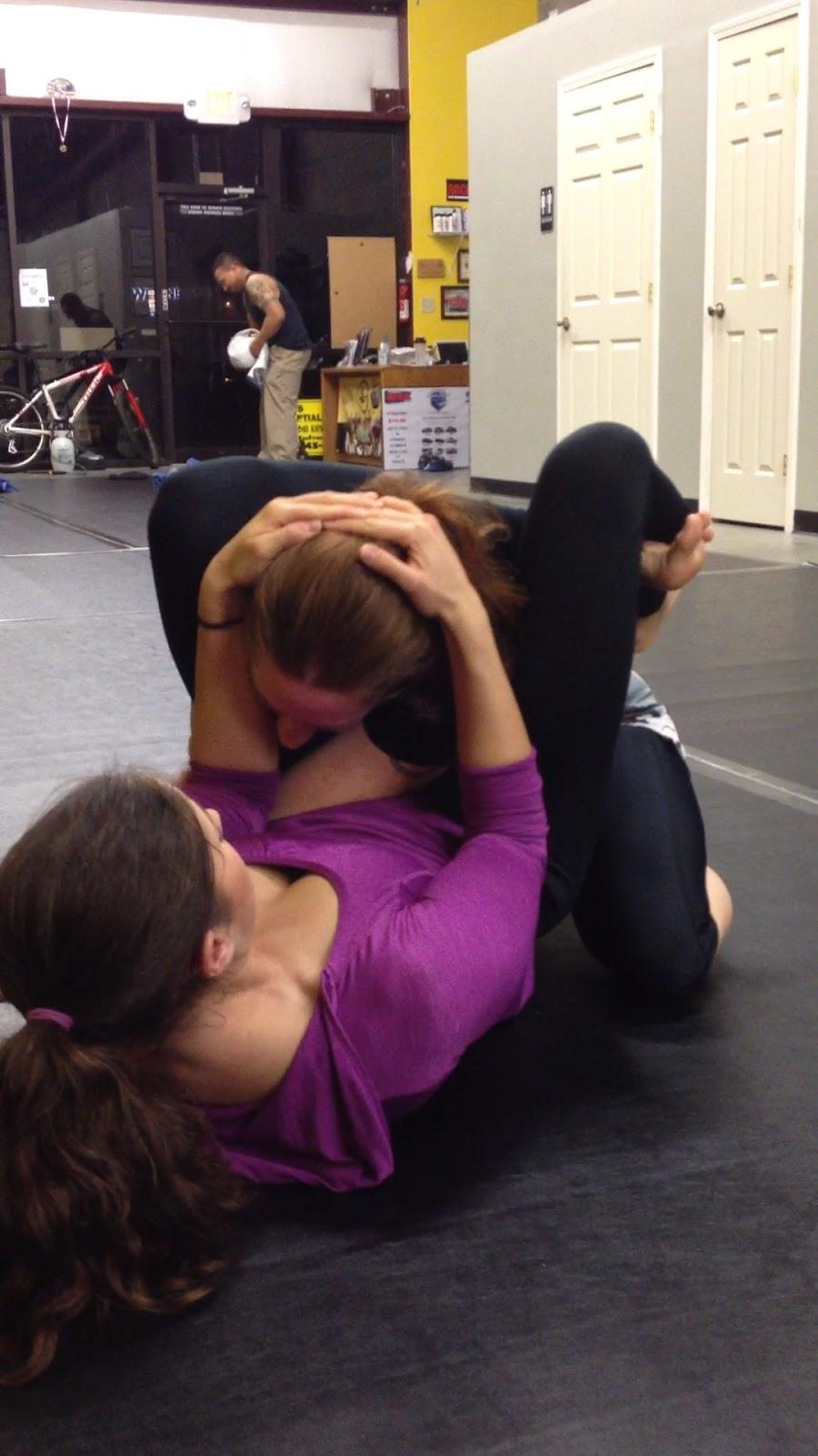 Girls Triangle Choke Submission Fox Fitness Brazilian Jiu