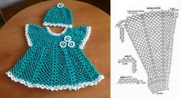 Вязаный комплект для малышки крючком - Описание вязания