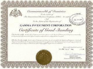 Сертификат о регистрации компании Gamma Investment Corporation в Доминике
