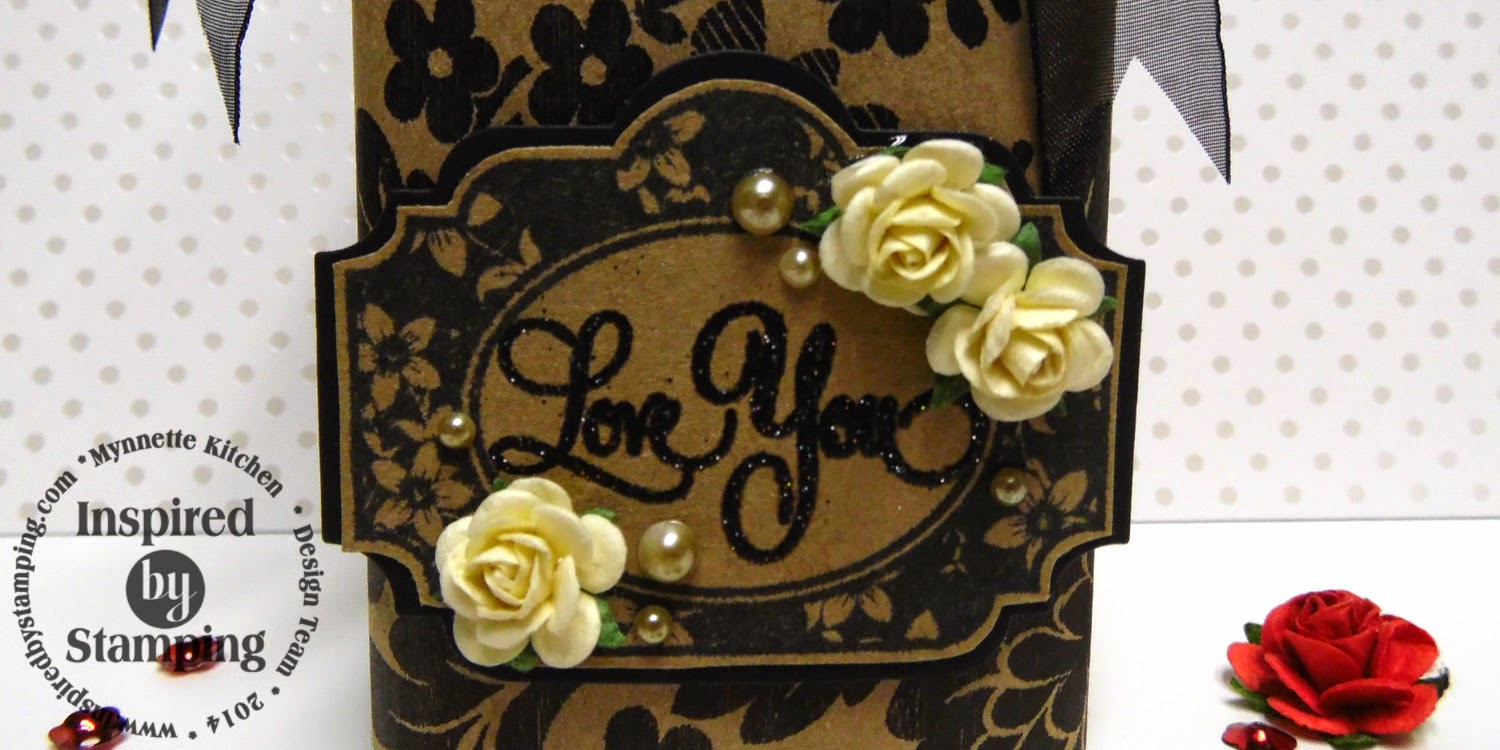 Inspired by Stamping, Mynnette Kitchen, Just Because stamp set, Fancy Labels 1 Die, floral vase, 3D projects