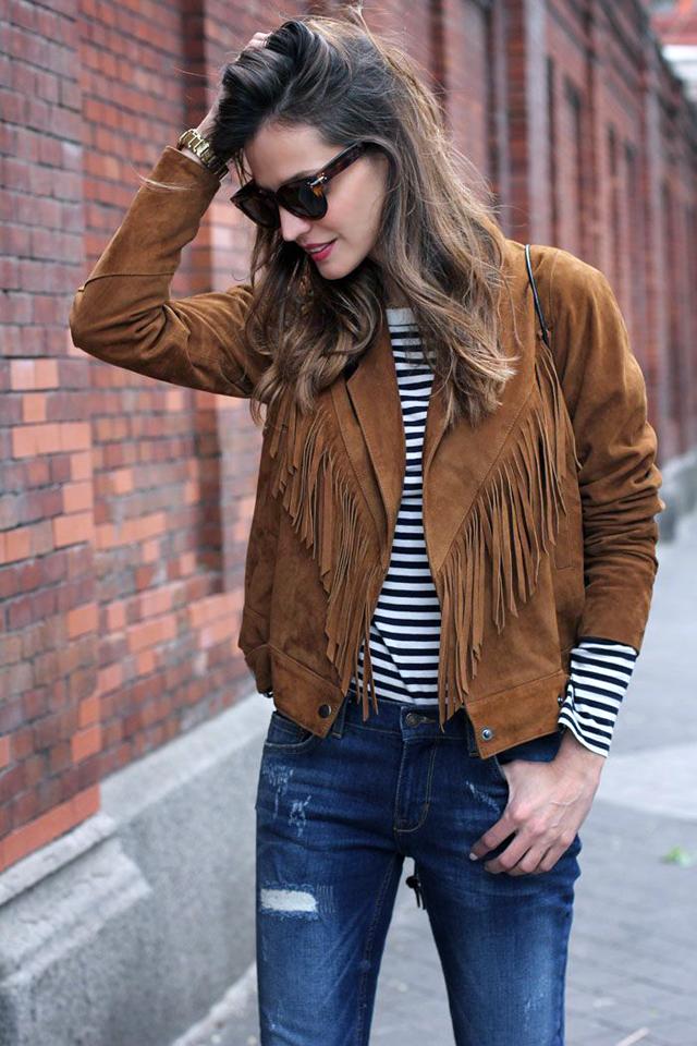 Fringe jacket, suede, brown, trend, 2015, spring, summer, inspiration, stripes, streetstyle