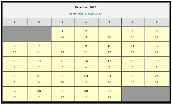 Calendar Dates 2015 2015 Muslims Calendar