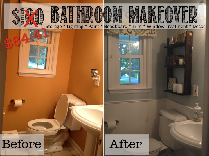 Two it yourself reveal 100 small bathroom makeover for Small bathroom makeovers