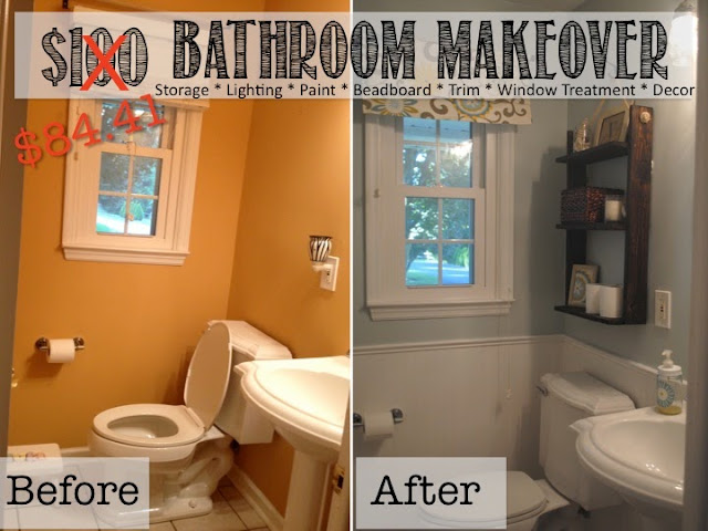 Two it yourself reveal 100 small bathroom makeover for Cheap bathroom pictures