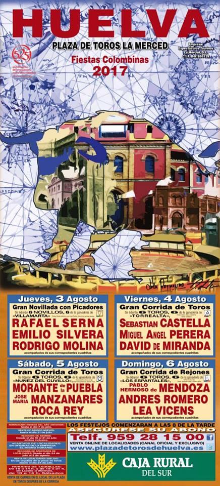HUELVA (ESPAÑA) DIAS 03-04-05 Y 06 FIESTAS TAURINAS COLOMBINAS 2017.