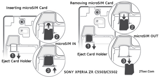 Sony Xperia ZR C5503/C5502 Insert Remove micro Holder Eject SIM Card