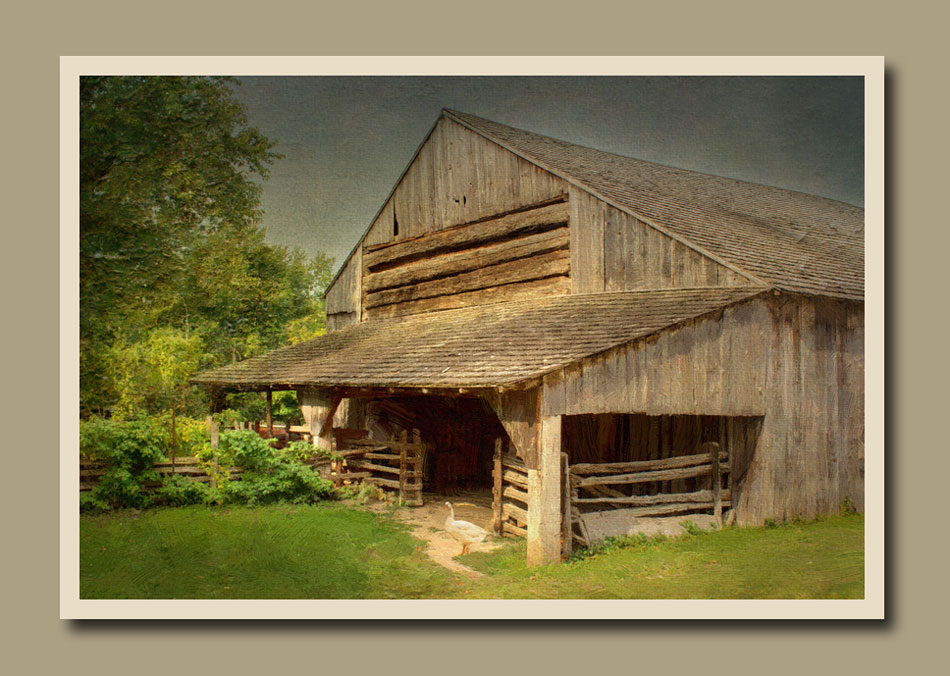 Daniel Stong's huge grain barn at Black Creek Pioneer Village. Processed as a painted photograph.  Holly Cawfield Photography