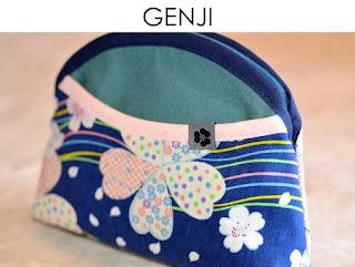 Kosmetiktasche Genji aus japanischen Stoffen von Noriko handmade, handgemacht, Einzelstück, Unikat, Schminktäschchen, Design