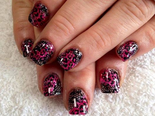 Acrylic back-fill foil used gel-color abyss black to draw leopard print and embedded lace in clear acrylic