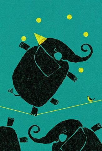illustration of a circus elephant tight rope by Yusuke Yonezu