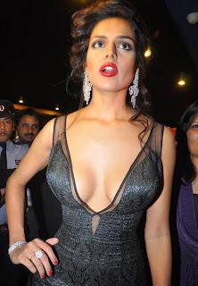 Nathalia Kaur in Sizzling Deep Neck Black Gown at Movie Department Premier in Hyderabad
