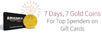 Amazon India : 7 Days, 7 Free Gold Coins for Top Spenders on Gift Cards