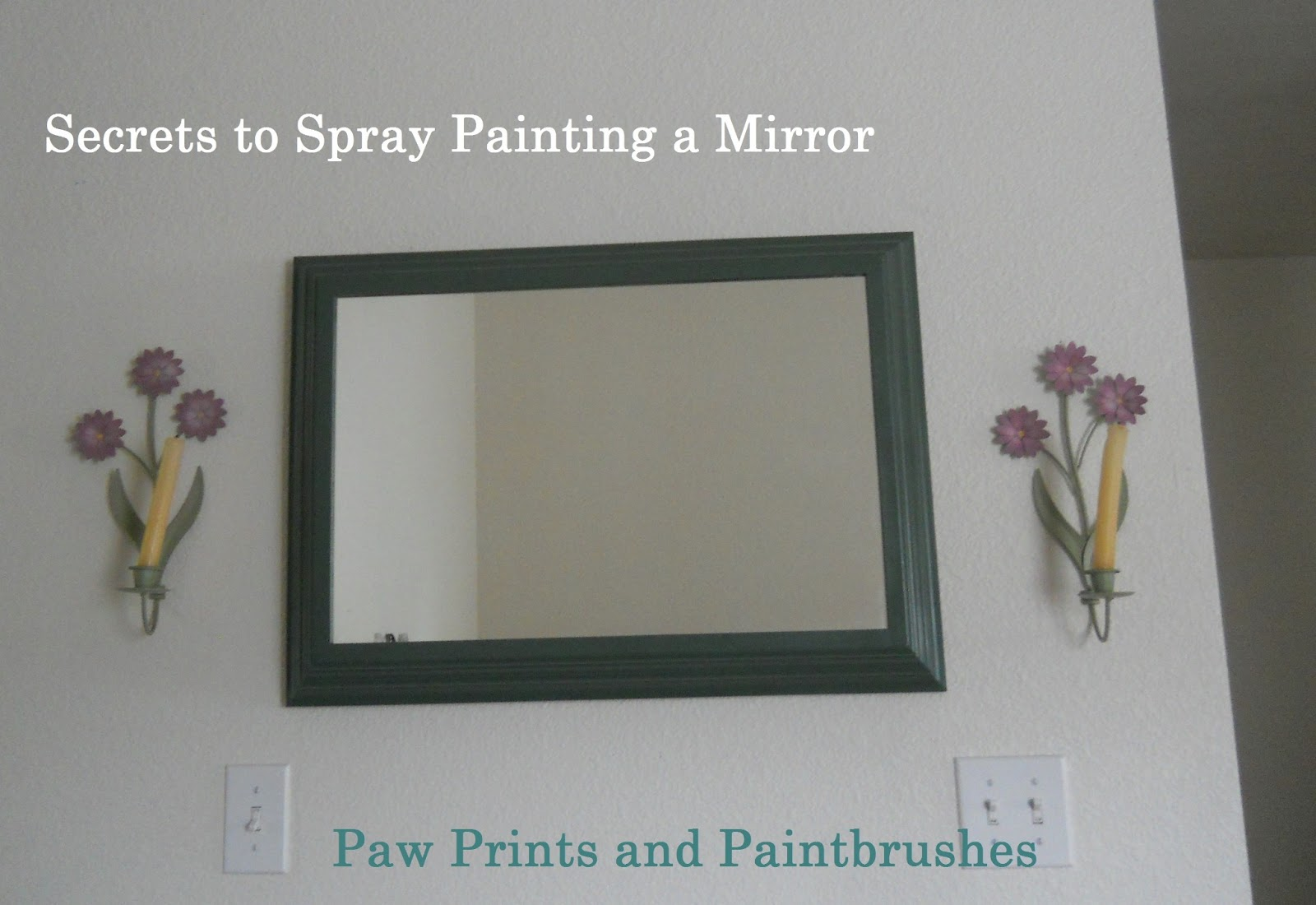 paw prints and paintbrushes spray painting a mirror with wooden frame. Black Bedroom Furniture Sets. Home Design Ideas