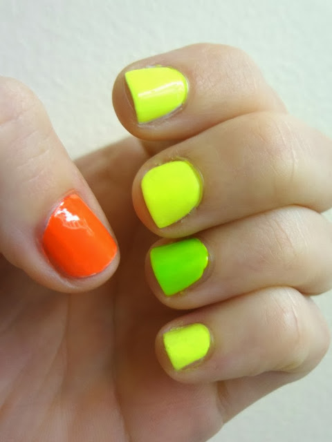 Neon nail polish, neon yellow, neon green, neon orange