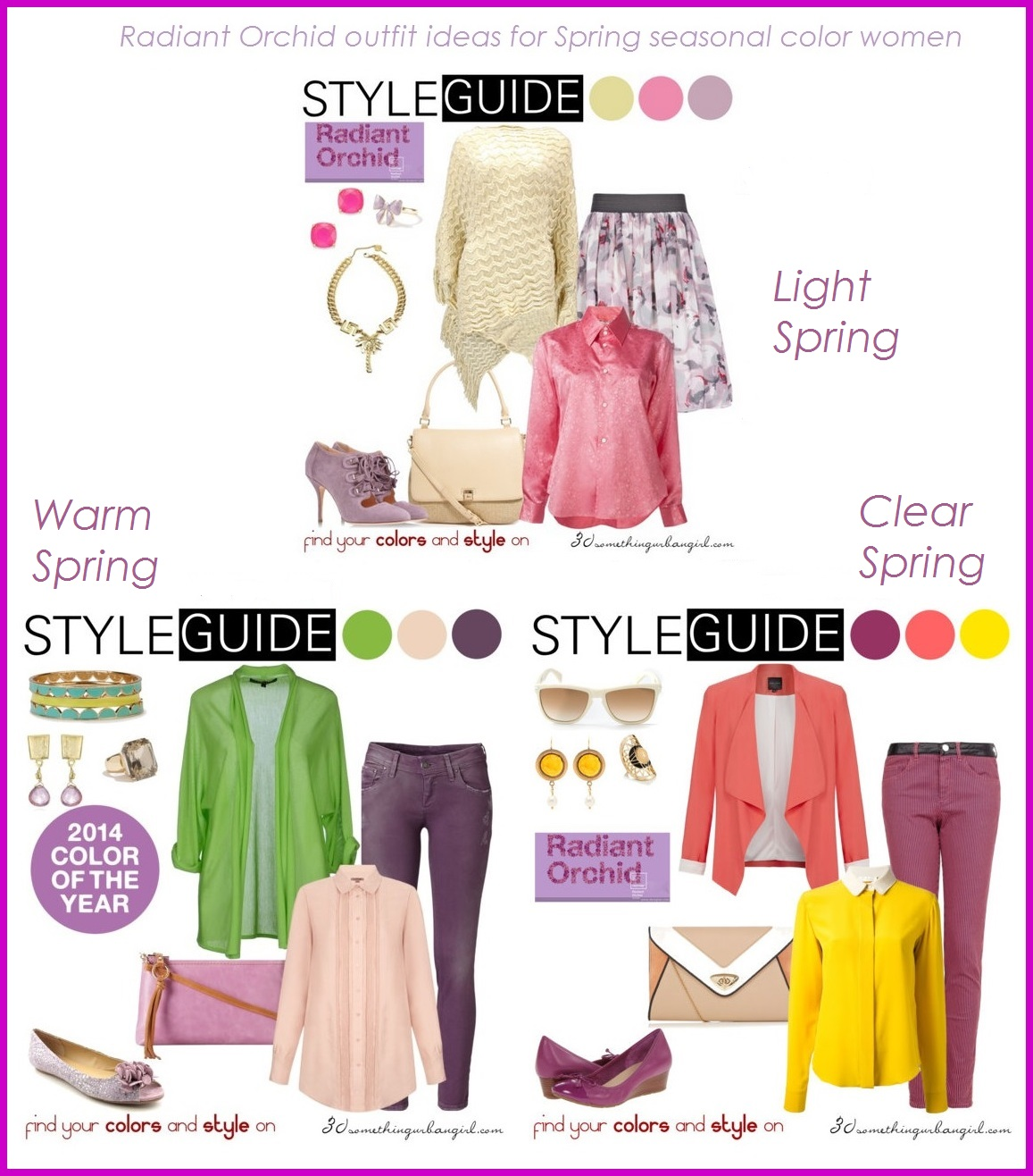 Radiant Orchid outfit ideas for Spring seasonal color women