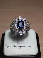 est 1,5ct NATURAL ROYAL BLUE SAPPHIRE GD LADIES RING