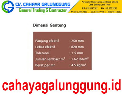 DIMENSI GENTENG METAL STAR ROOF