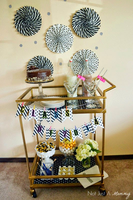 Black And White Graduation Dessert Bar with Whisker Graphics