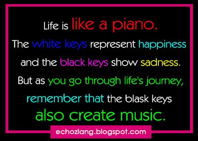 Life is like a piano. The white keys represent happiness and black keys show sadness.